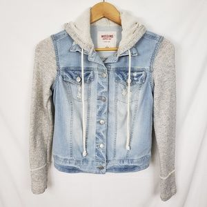 Mossimo French Terry Sleeve Hooded Denim Jacket S